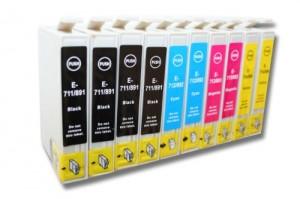 Set di 10 cartucce con colori primari compatibili con EPSON Stylus SX100 / SX105 / SX110 ecc.. sostituiscono le cartucce T0711 Qualità garantita VHBW