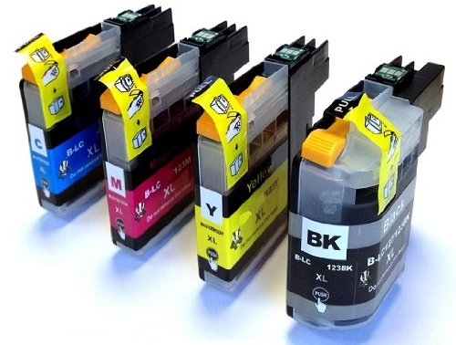 KIT 4 CARTUCCE BROTHER LC-123 PER STAMPANTE BROTHER DCP-J132W, DCP-J552DW, DCP-J152W, MFC-J245, MFC-J4410DW, MFC-J4510DW, MFC-J4610DW, MFC-J470DW, MFC-J6520DW, MFC-J6920DW, MFC-J4710DW, MFC-J650DW, MFC-J870DW