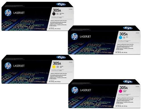 HP 305A - 4 confezioni di cartucce OEM Ce410A nero, Ce411A ciano, Ce412A giallo, Ce413A magenta per stampate laser HP Laserjet Pro M451/M475