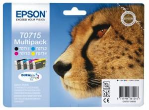 Epson T0715 Serie Ghepardo Cartuccia Originale, Multipack, 4 Colori