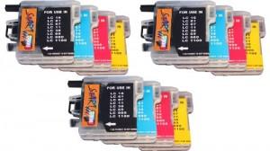 Start -12 Cartucce XXL per BROTHER compatibili con LC 980  nero, ciano, magenta, giallo. Per le seguenti stampanti: Brother DCP 145/ 163/ 165/ 167/ 195 C  MFC 250 C, MFC 255 CW MFC 290 C MFC 295 CN MFC 297 C DCP 365 CN DCP 373/ 375/ 377 CW. Il set include 3 cartucce  di ogni colore. Come cartucce originali- 100% indicatore di carica- Inchiostro di qualità-